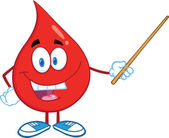 Red Blood Drop Character Holding A Pointer — Stock Photo