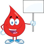 Red Blood Drop Character Holding Up A Blank Sign — Stock Photo