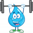 Water Drop Cartoon Character Lifting Weights — Stock Photo #29805969