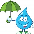 Smiling Water Drop With Umbrella — Stock Photo #29806039