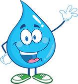 Water Drop Cartoon Character Waving For Greeting — Stock Photo