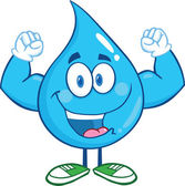 Water Drop Cartoon Character Showing Muscle Arms — Stock Photo