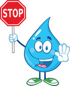 Water Drop Cartoon Character Holding A Stop Sign — Stock Photo