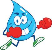 Personagem de gota de água correndo com luvas de boxe — Foto Stock