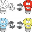 Light Bulbs Characters. Set Collection 3 — Stock Photo