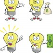 Yellow Light Bulb Characters. Set Collection 11 — Stock Photo #29851855