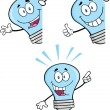 Blue Light Bulb Characters  Set — Stock Photo