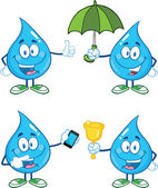 Water Drop Cartoon Characters. Set Collection 1 — Stock Photo