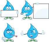 Water Drop Cartoon Characters Set — Stock Photo