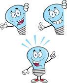 Blue Light Bulb Characters Set — Stock Photo