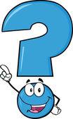 Happy Blue Question Mark — Stock Photo