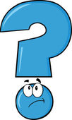 Blue Question Mark Thinking — Stock Photo
