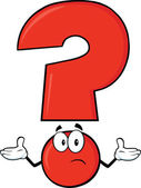 Red Question Mark Character With A Confused Expression — Stock Photo