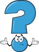 Blue Question Mark Character With A Confused Expression — Stock Photo