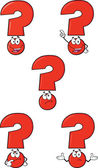 Red Question Mark Set Collection — Stock Photo