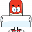 Pill Capsule Cartoon Character Holding A Banner — Stock Photo #30094315