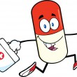 Pill Capsule Cartoon Character Running With A Medicine Bag — Stock Photo