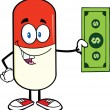 Pill Capsule Showing A Dollar Bill — Stock Photo #30188067