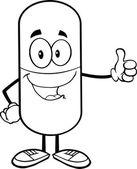 黒と白の錠剤カプセルを親指をあきらめる — ストック写真