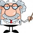 Funny Scientist Or Professor Holding A Pointer — Stock Photo