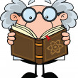 Funny Scientist Or Professor Reading A Book — Foto de Stock