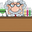 Stock Photo: Mad Scientist Or Professor In The Laboratory