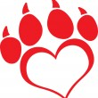 Stock Photo: Red Love Paw Print With Claws