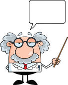 Funny Scientist Or Professor Holding A Pointer With Speech Bubble — Stock Photo