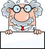 улыбаясь ученый или профессор над пустой знак — Стоковое фото