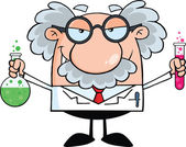 Mad Scientist Or Professor Holding A Bottle And Flask With Fluids — Stock Photo