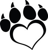 Black Love Paw Print With Claws — Stock Photo