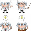 Scientist Or Professor Cartoon Characters  Set Collection 3 — Stock Photo