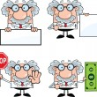 Scientist Or Professor Cartoon Characters  Set Collection 5 — Stock Photo