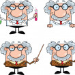Scientist Or Professor Cartoon Characters  Set Collection 7 — Stock Photo