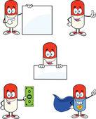 Pil capsule stripfiguren instellen collectie 2 — Stockfoto