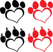 Red Love Paw Print With Claws Set Collection — Stock fotografie
