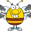 Smiling Pudgy Bee Cartoon Character Training With Dumbbells — Stockfoto