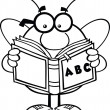 Stock Photo: Black And White Pudgy Bee Cartoon Character With Glasses Reading ABC Book