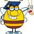 Smiling Pudgy Bee Cartoon Character Graduate Holding Up A Diploma — Stock Photo #30498155