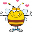 Smiling Pudgy Bee Cartoon Character With Open Arms For Hugging — Stock Photo