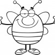 Black And White Pudgy Bee Cartoon Character With Open Arms For Hugging — Stock Photo