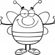 Black And White Pudgy Bee Cartoon Character With Open Arms For Hugging — Stock Photo #30498225