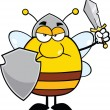 Angry Pudgy Bee Warrior With Shield And Sword — Stock Photo