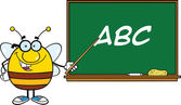 Pudgy Bee Character With Glasses With A Pointer In Front Of Blackboard With Text — Stock Photo