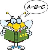 Pudgy Bee Cartoon Character Reading A ABC Book — Stock Photo