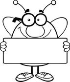 Black And White Pudgy Bee Cartoon Character Holding A Banner — Stock Photo