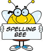 Smiling Pudgy Bee Cartoon Character Holding A Banner With Text — Stock Photo