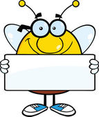 Smiling Pudgy Bee Cartoon Character Holding A Banner — Stock Photo