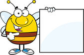 Pudgy Bee Cartoon Character Showing A Blank Sign — Stock Photo