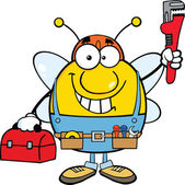Pudgy Bee Plumber With Wrench And Tool Box — Stock Photo